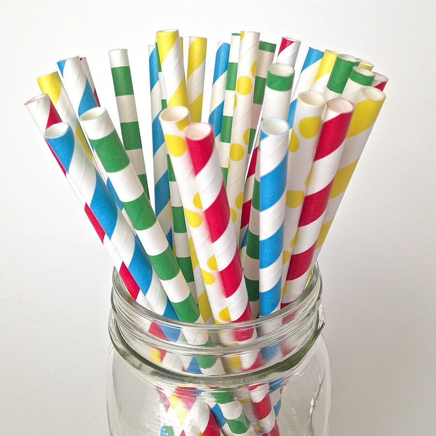 building blocks party straws