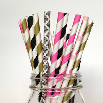 black gold pink straws