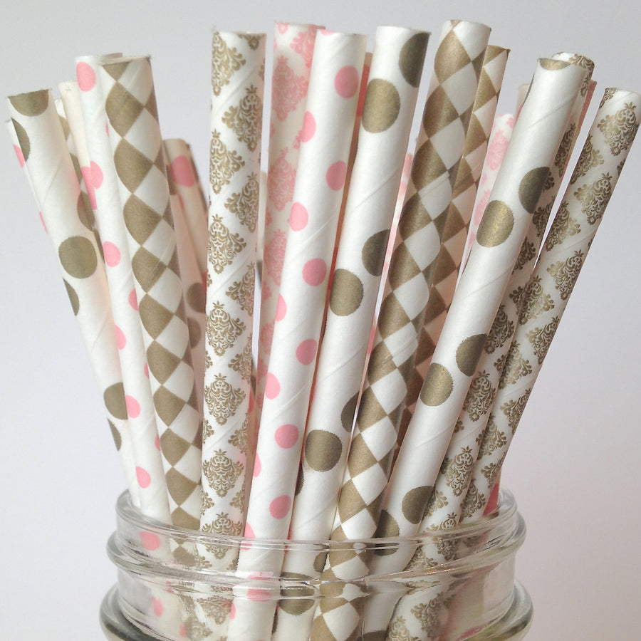 Dainty Damask Pink and Gold Bridal Shower Straws