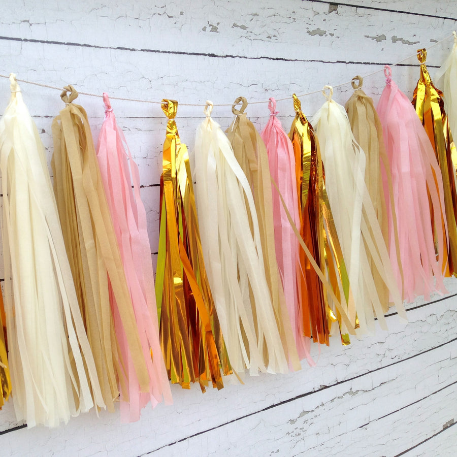 Pink Cream Gold Shabby Chic Tassel Garland Kit