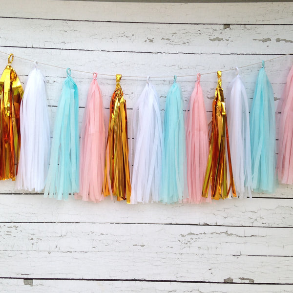 Gender Reveal Tissue Tassel Garland Kit