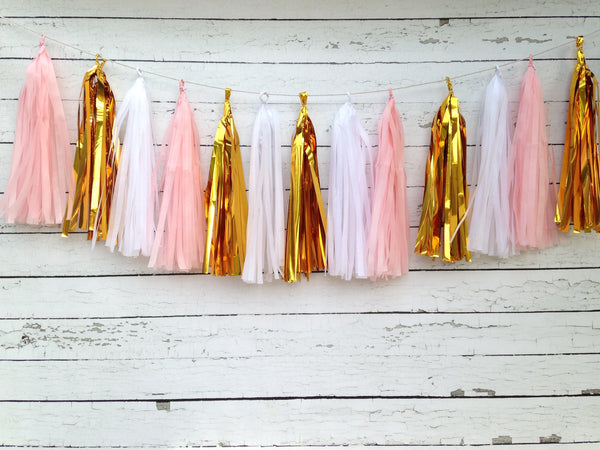 Pink White and Metallic Gold Tissue Tassel Garland Kit