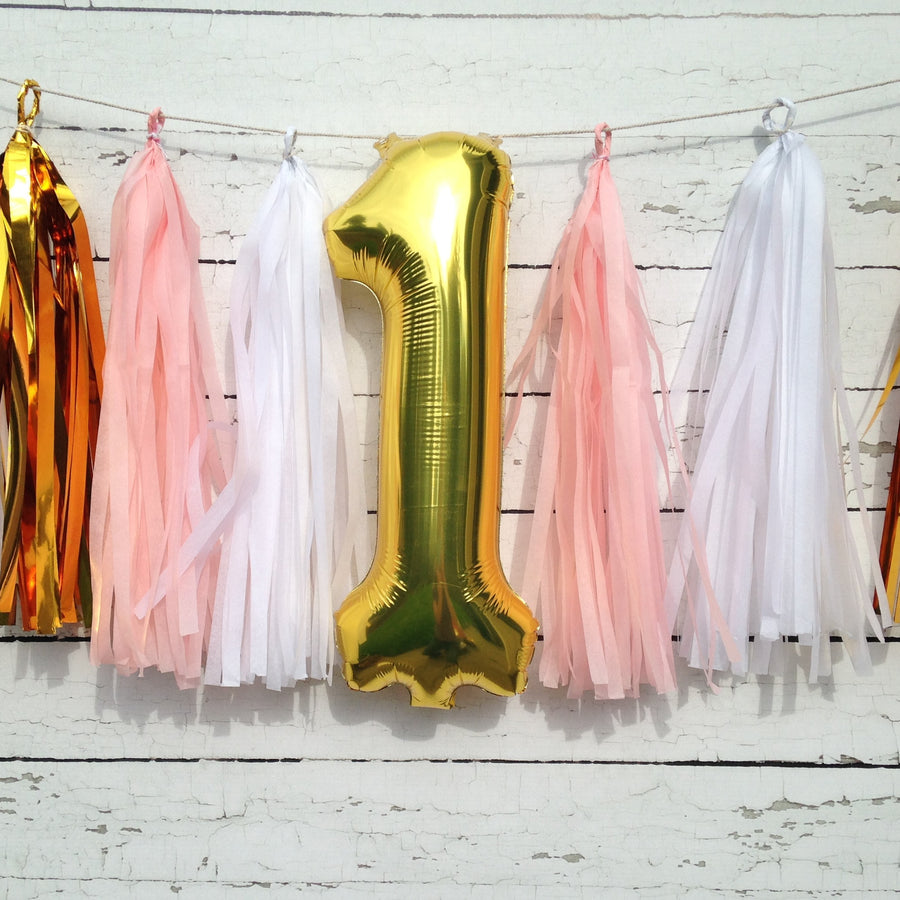 Pink White and Metallic Gold Tissue Tassel Birthday Number Garland Kit