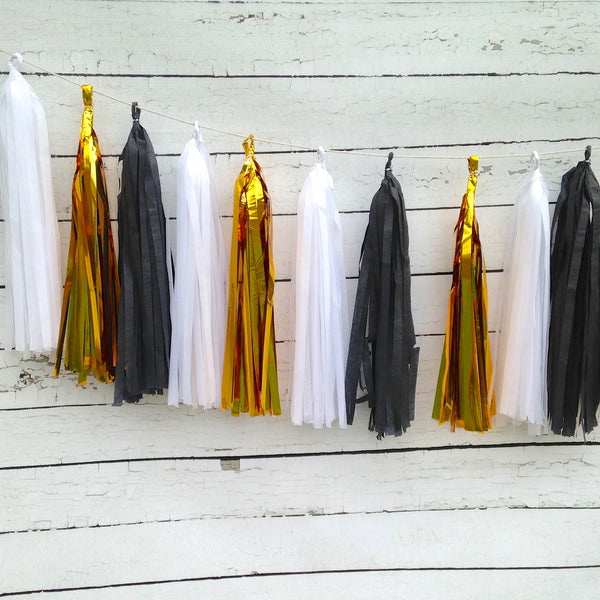 black white gold tassel garland