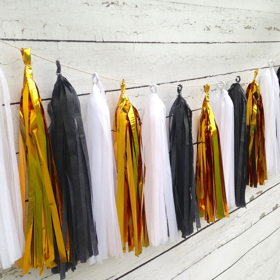 Black and Gold Tissue Tassel Garland Kit