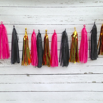 Black, Gold, Fuchsia Pink Garland