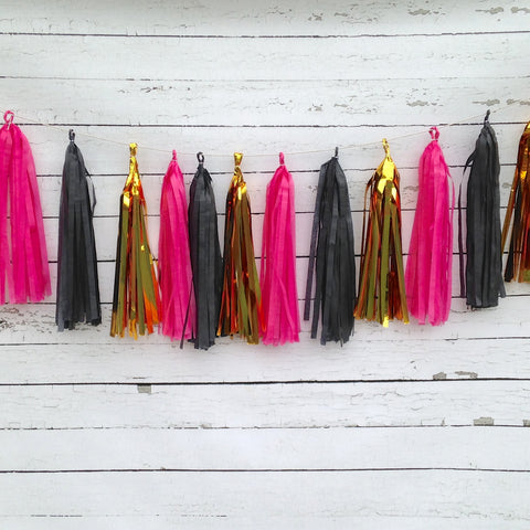 Black Gold Fuchsia Pink Glam Tissue Tassel Garland Kit