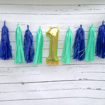Mint Navy and Metallic Gold Tissue Tassel Birthday Number Garland Kit