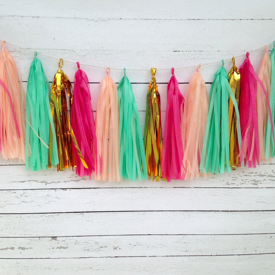 Fuchsia Mint Peach Gold Bright and Lively Fringe Tissue Garland Kit