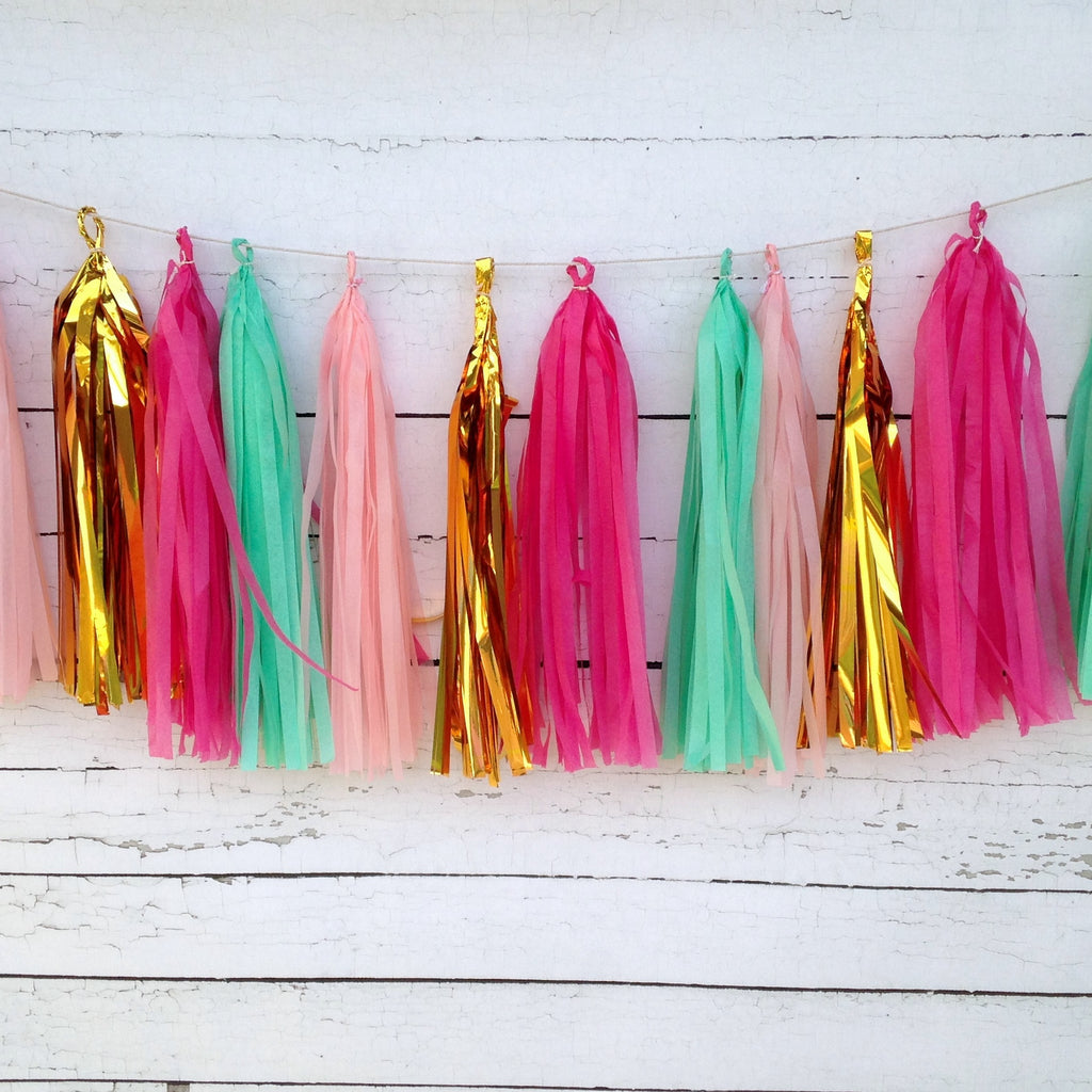Fuchsia Mint Pink Gold Bright and Girly Fringe Tissue Garland Kit