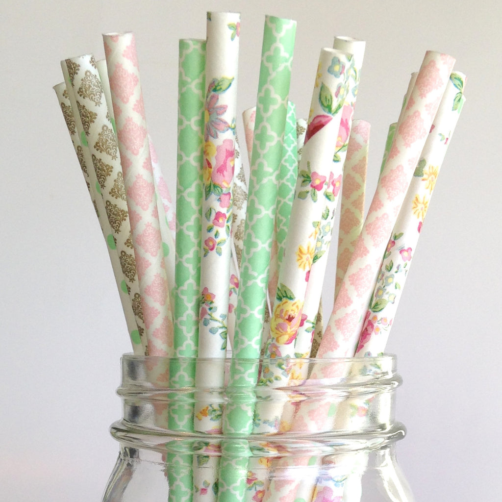 decorative straws for weddings garden floral wedding paper straws 3463