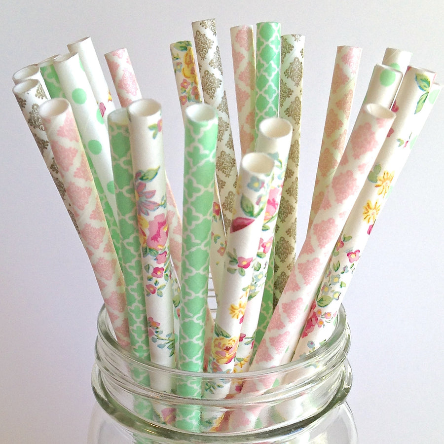 English Garden Floral Wedding Paper Straws