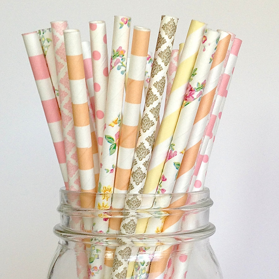 Burlap & Lace Wedding Paper Straws