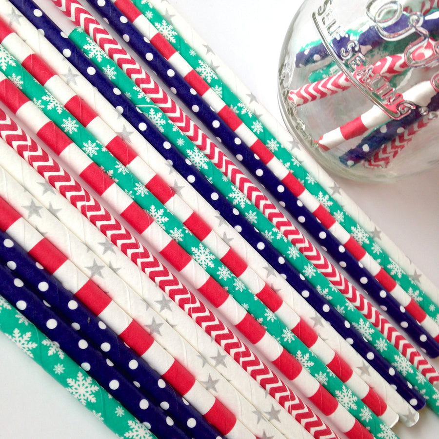 Winter Wonderland Holiday Prints Paper Straws