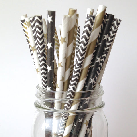 Happy New Year Black and Gold Star Straws