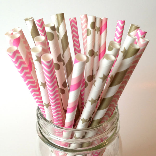 Hot Pink and Gold Bachelorette Party Straws