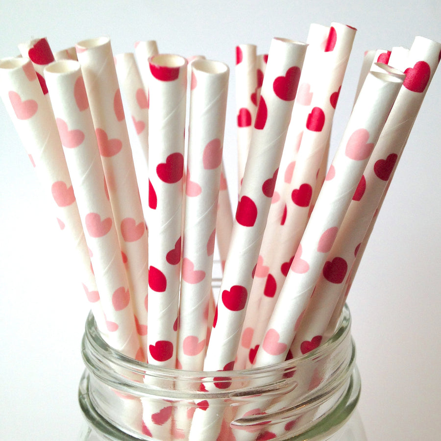 Sweetheart Red and Pink Paper Straws