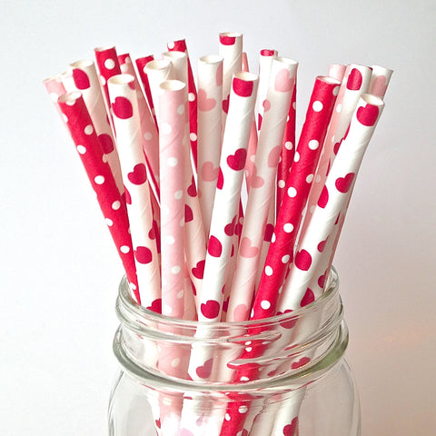 This is Love Valentine Pink and Red Straws