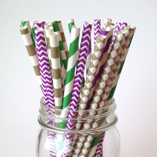 Mardi Gras Party Straws