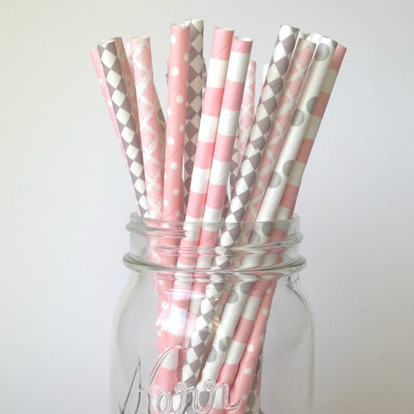 blush and gray straws