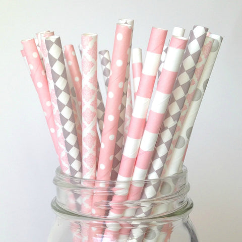 pink gray baby shower straws