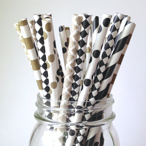 black and gold straws
