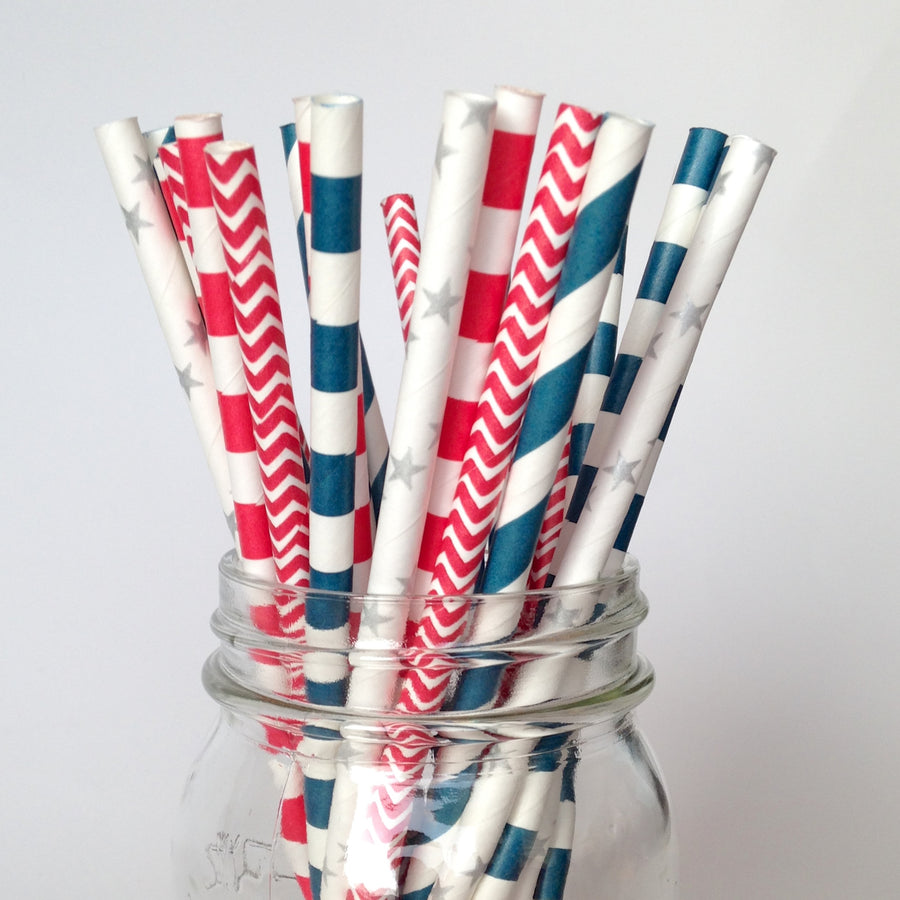 Patriotic Red White and Blue Paper Straws