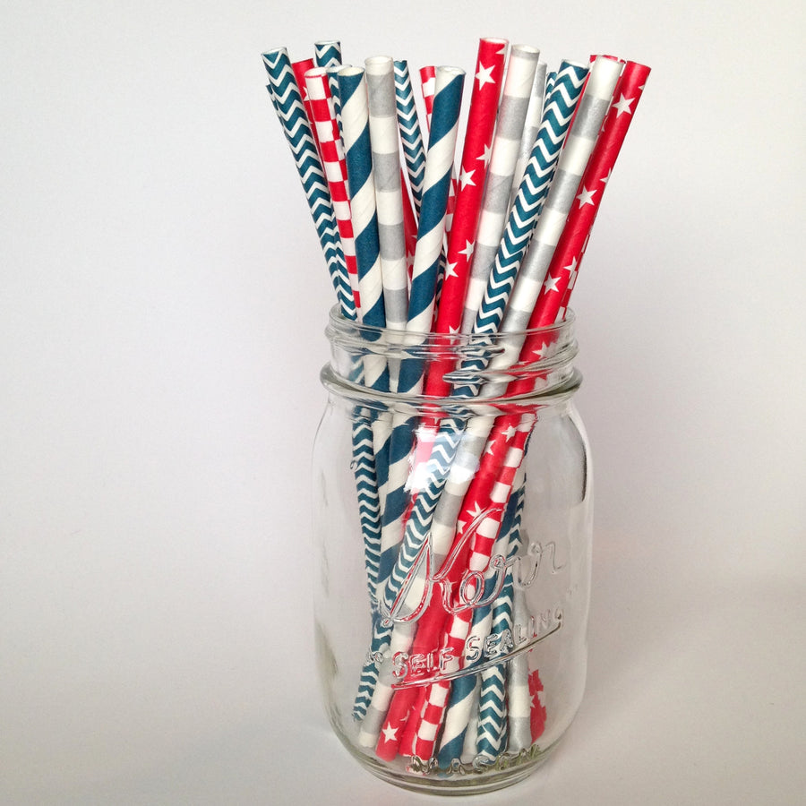 Red White and Blue Americana Straws