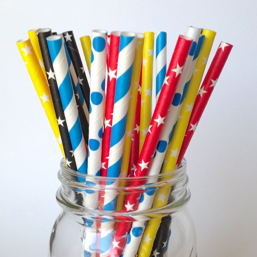 Superhero Birthday Party Star Straws