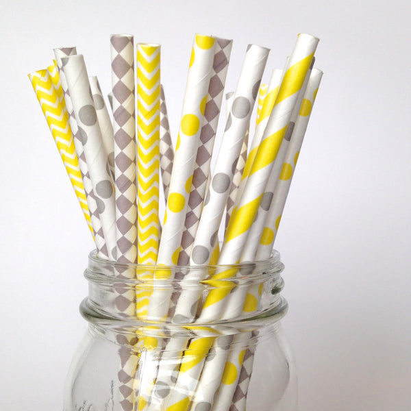 Yellow and Gray Baby Shower Straws