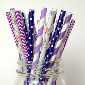 purple floral paper straws