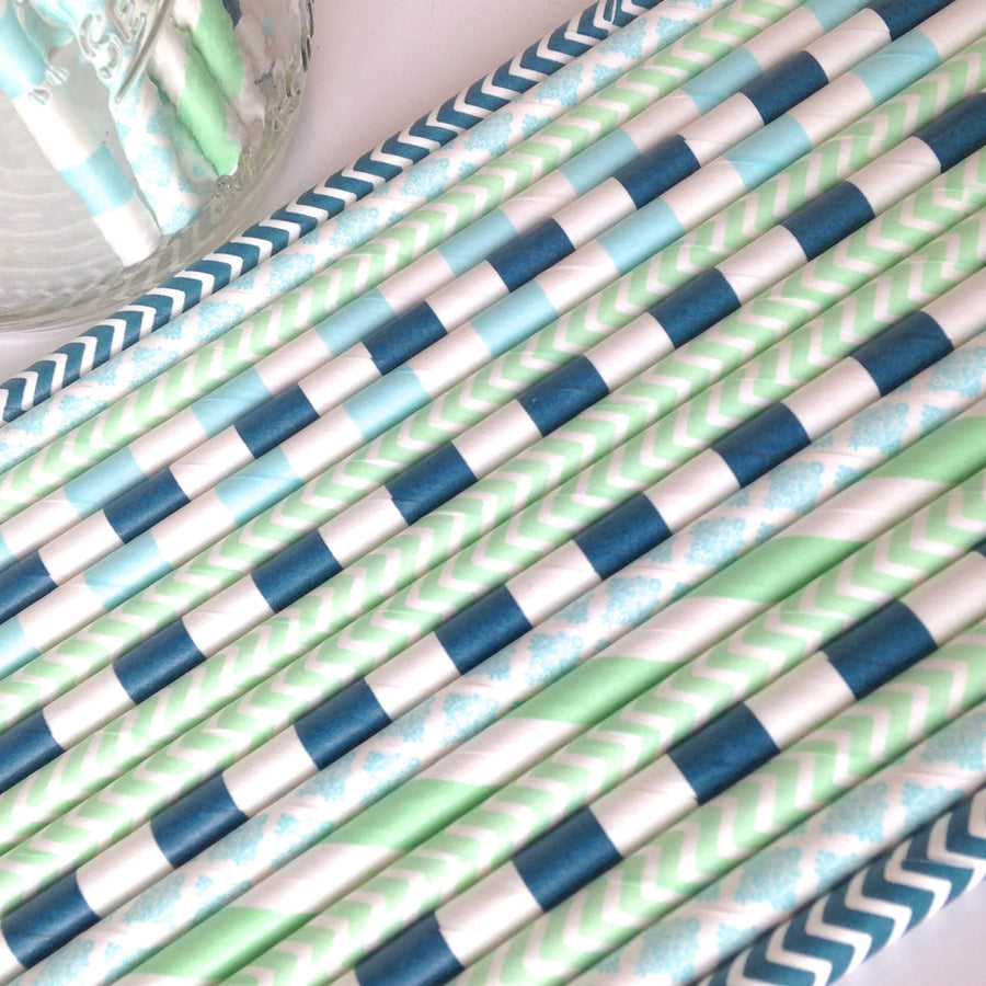 Mint Navy Blue Paper Straws