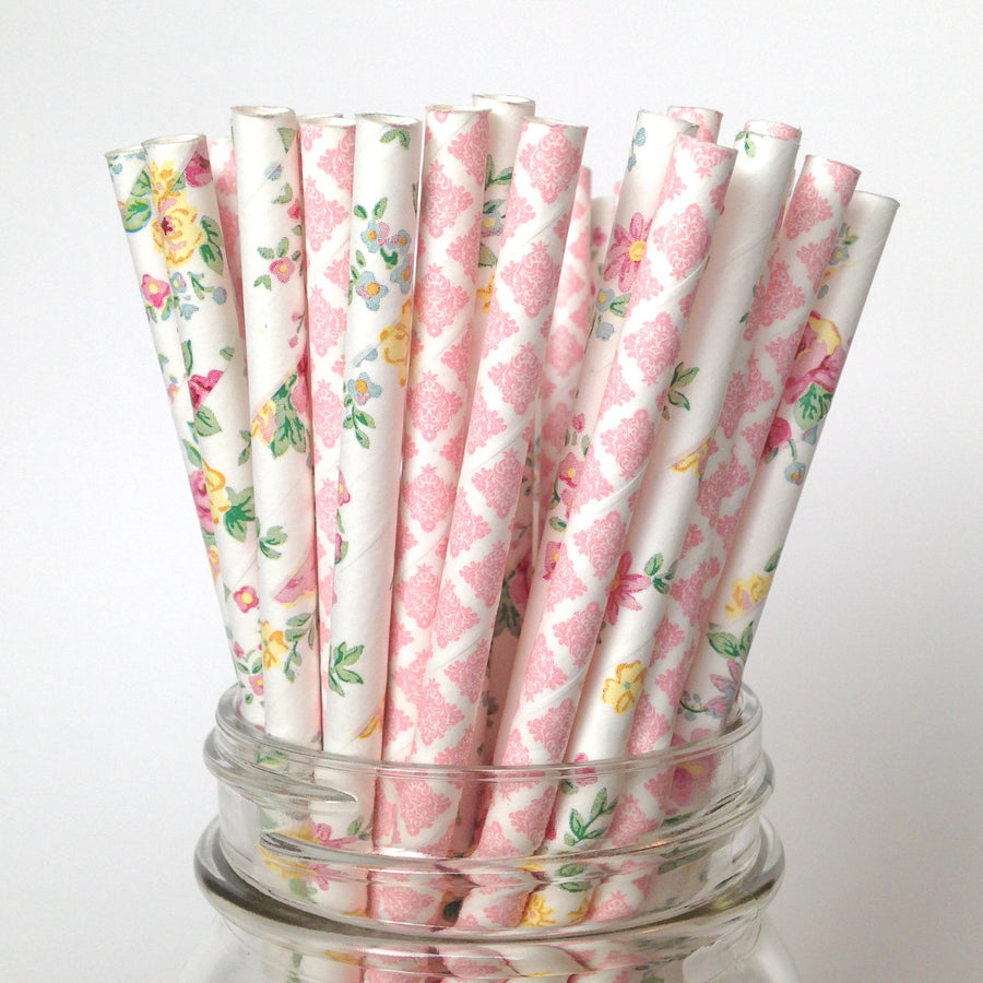 Vintage Floral Blush Damask Wedding Paper Straws