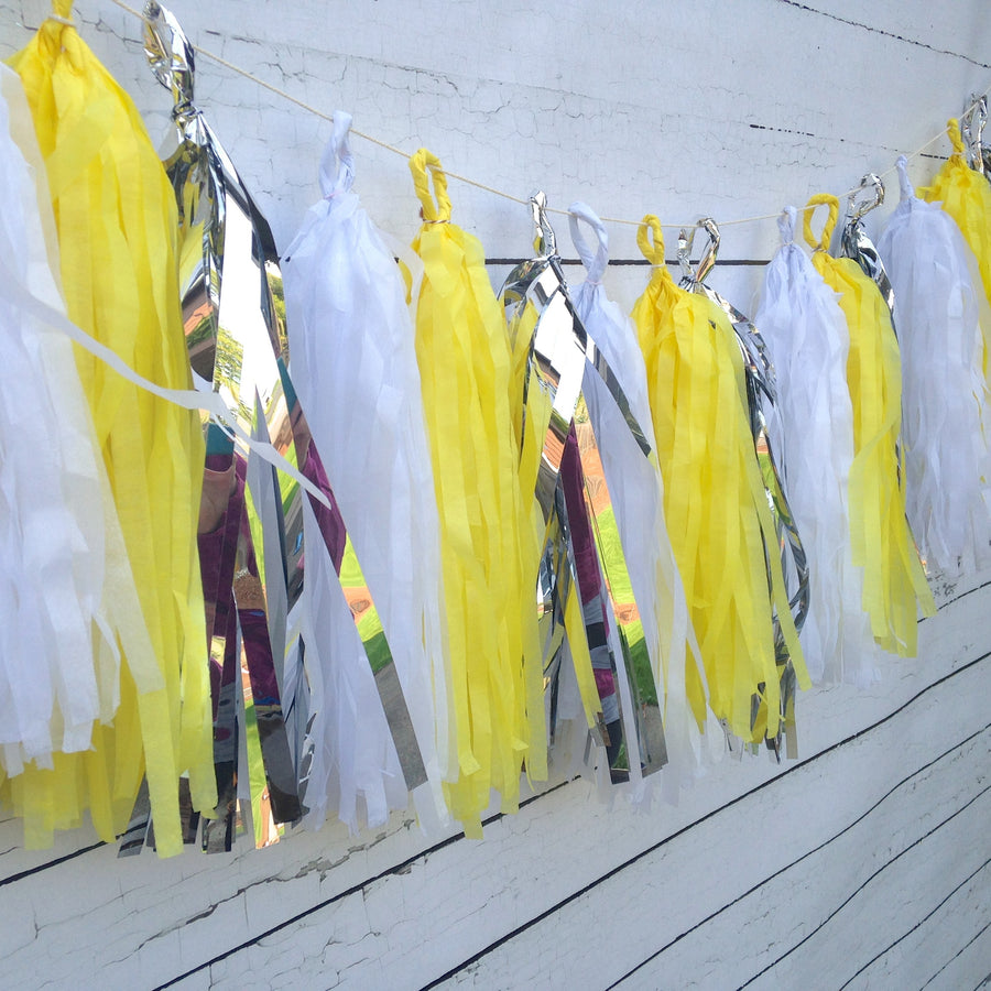 Sunny Yellow, Metallic Silver, Crisp White Tissue Tassel Garland Kit