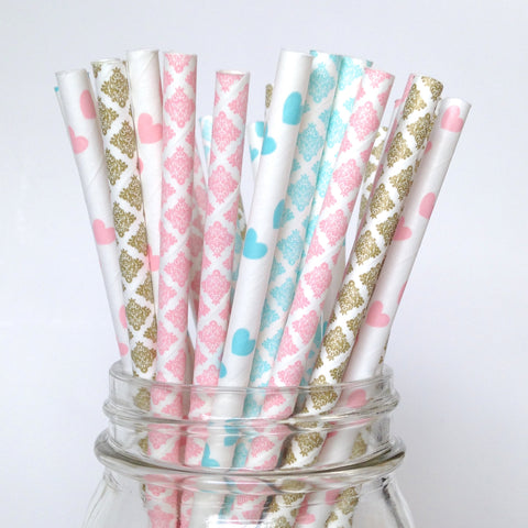 Gender Reveal Damask Straws