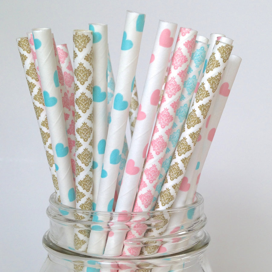 Pink Blue Gold Paper Straws
