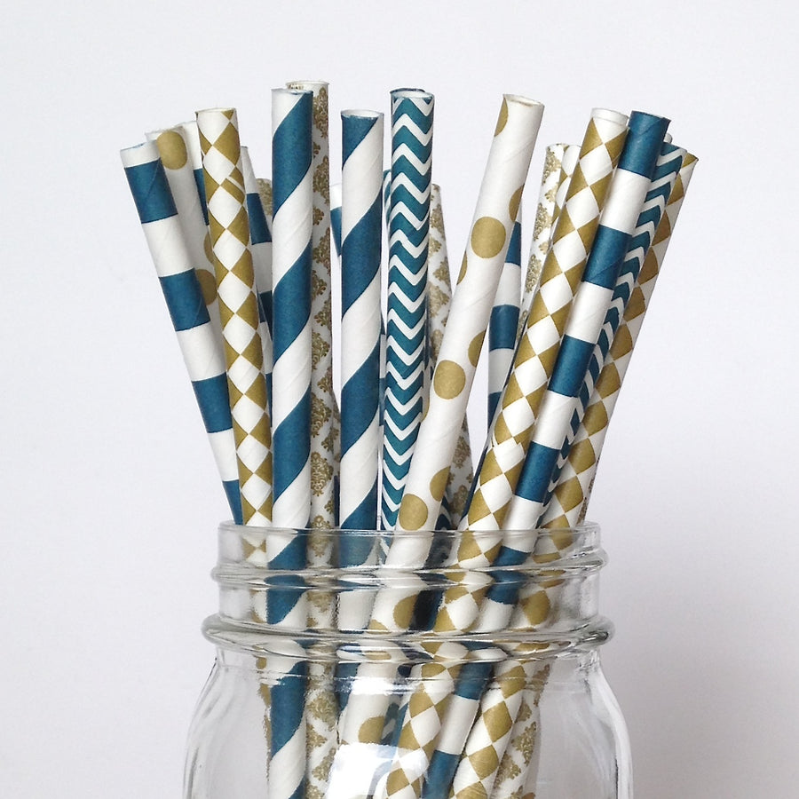 Navy and Gold Engagement Party Straw Multipack
