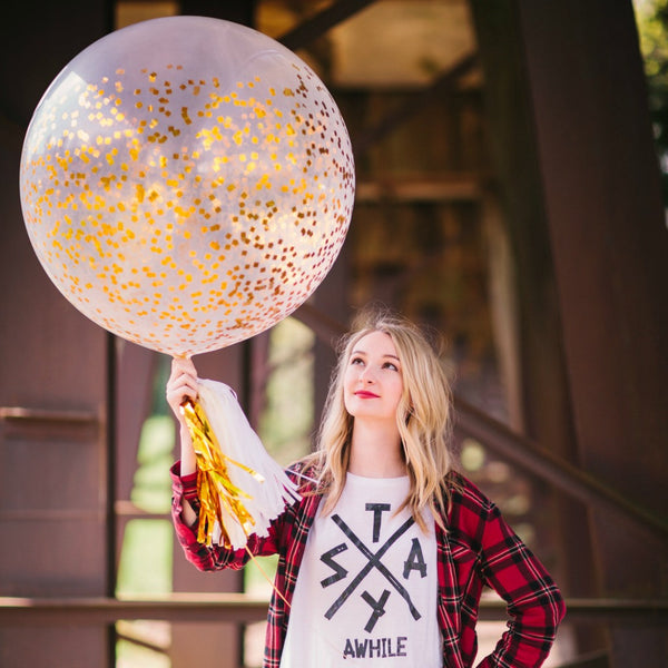 gold confetti balloon