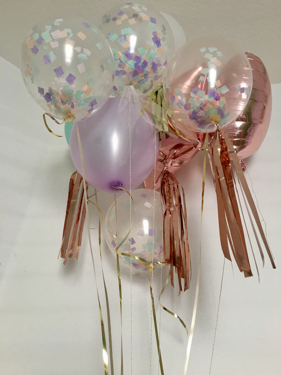 Lavendar, peach, mint,  Rose Gold Balloon Bouquet,  11 in. latex and foil balloons