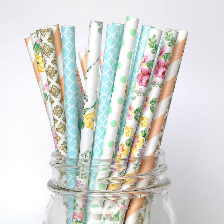 rustic farmhouse paper straws