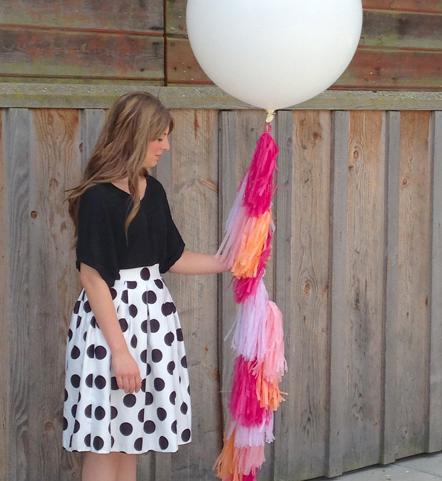 Balloon Tissue Tassel Tail Fringe Kit in Pinks, Peach and Polka Dot
