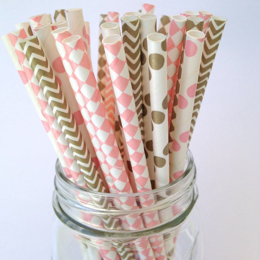 Blush Pink and Gold Whimsical Wedding Party Straws