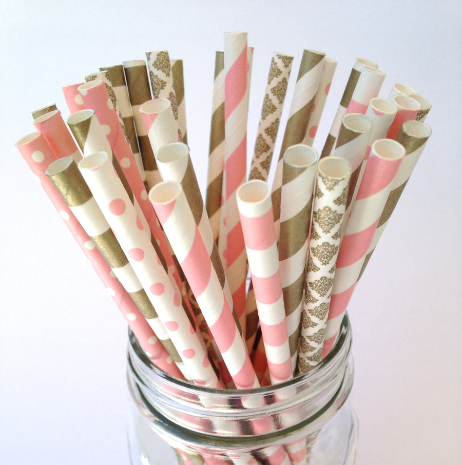 Classic Blush Pink and Gold Wedding Paper Straws