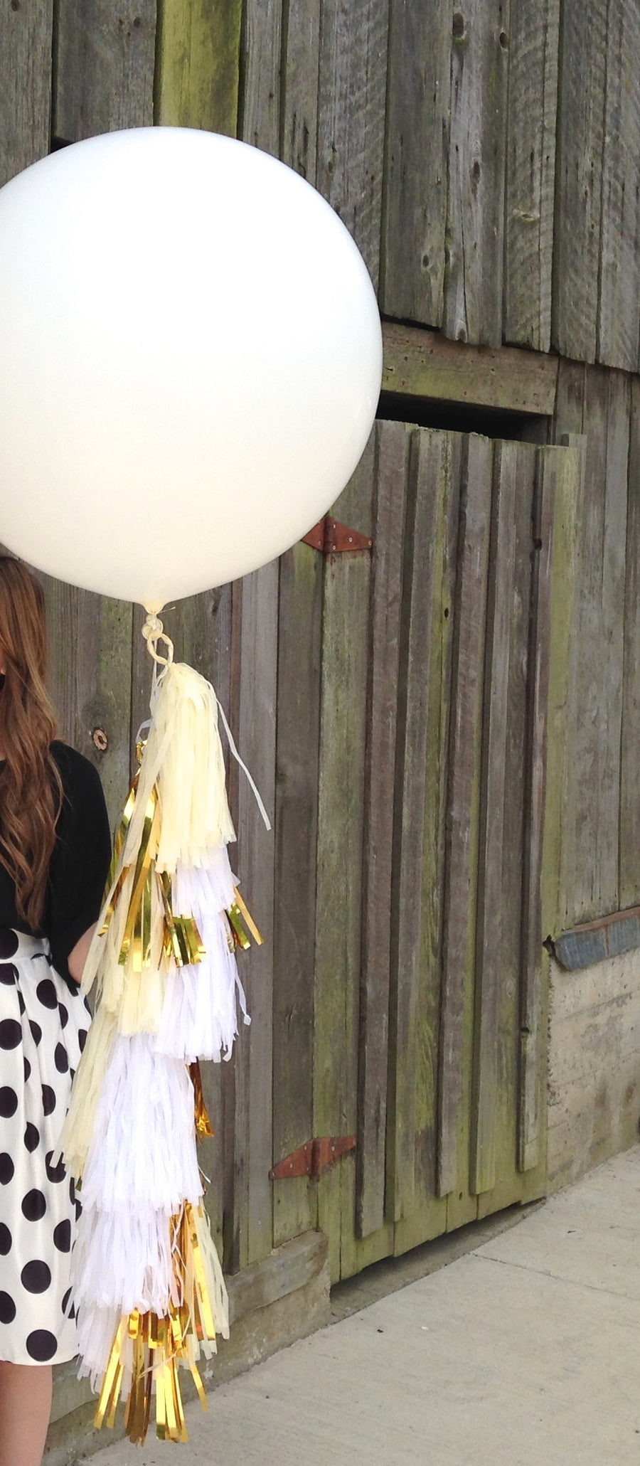 Britney, Wedding White Jumbo Balloon Tissue Tassel Tail Fringe: White, Metallic Gold, Ivory
