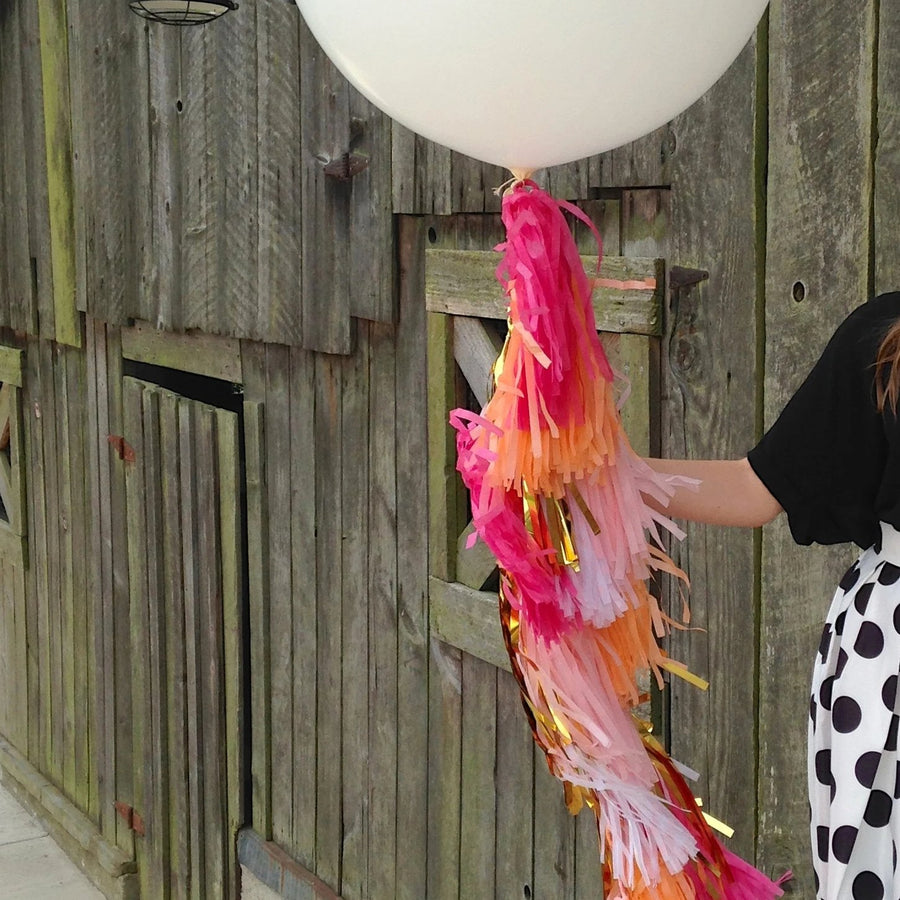 Pink Peach Ombre Gold Balloon Tissue Tassel Garland Fringe Kit
