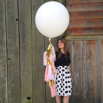 Balloon Tissue Tassel Tail Fringe: Blush Pink, Metallic Gold and Polka Dot Pink