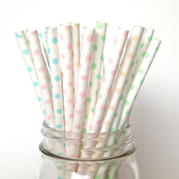 Delicate Dots, Pastel Paper Straws
