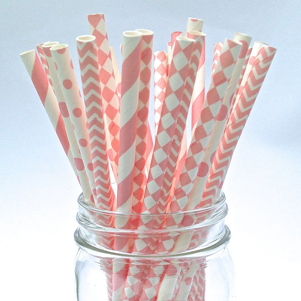 It's A Girl Pink Baby Shower Straws
