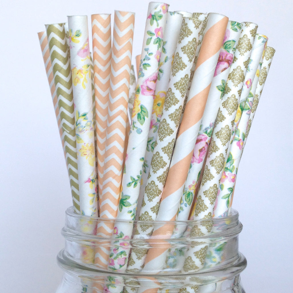 Vintage Floral Peach and Gold Paper Straws