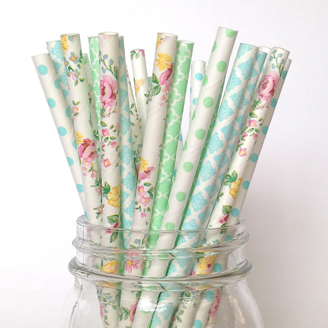 Botanical Garden, Blue and Mint Floral Paper Straws